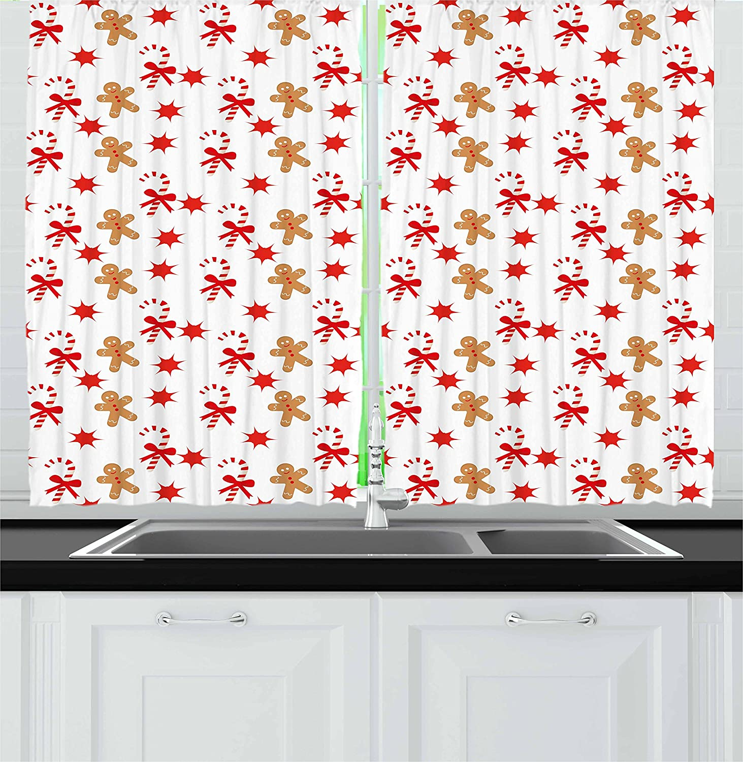 Ambesonne Gingerbread Man Kitchen Curtains, Candy Cane with Bowties Red Star Figures Gingerbread Man Pattern, Window Drapes 2 Panel Set for Kitchen Cafe, 55 W X 39 L Inches, Sand Brown Orange
