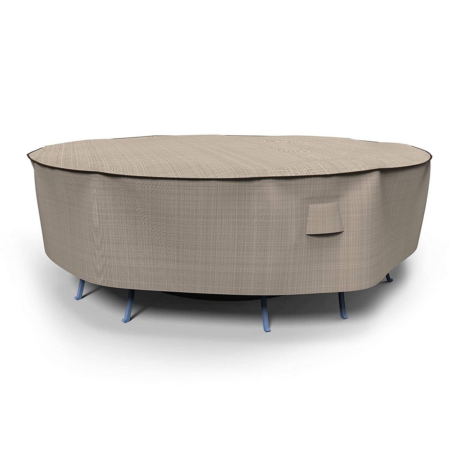 EmpirePatio Tan Tweed Round Patio Table and Chairs Combo Cover, Large