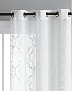 Embroidered Sheer Window Treatment With Grommet Top Quatrefoil Design Lighweight Luxurious Dacron In White