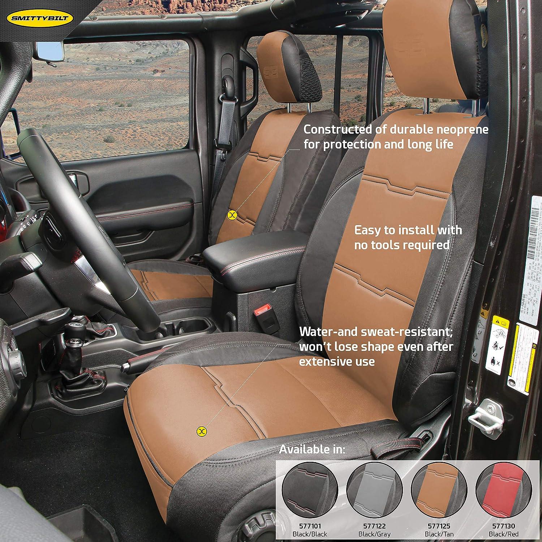 GEN2 Neoprene Seat Covers Smittybilt 577125 Front//Rear Tan//Black for 2018 Jeep JL 4 Door