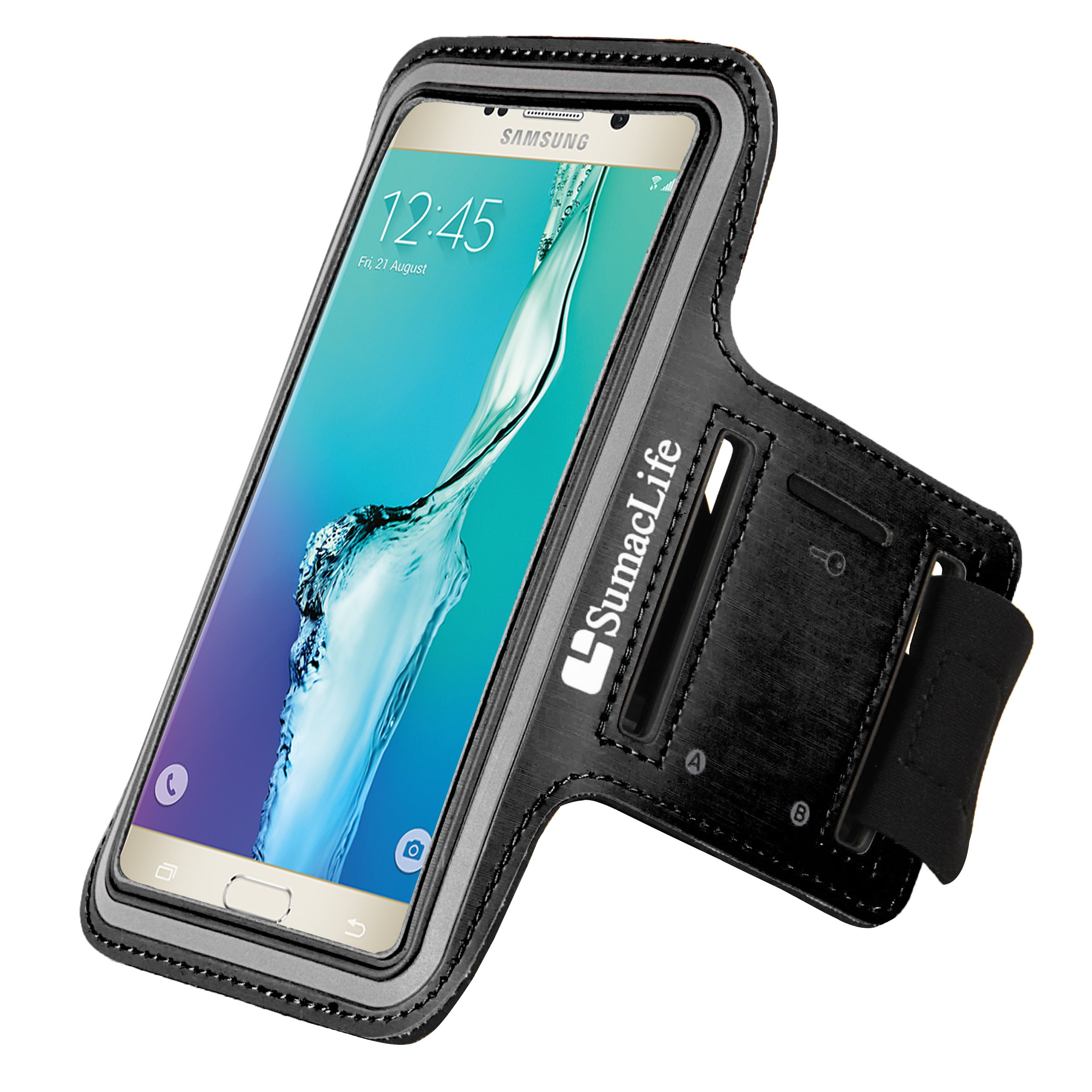 Fashion sports series cellphone armband armlet for Samsung Galaxy S6 Edge Plus/ Note 5/ Note4/ A7/ A8/ E7/ J7 (Black)