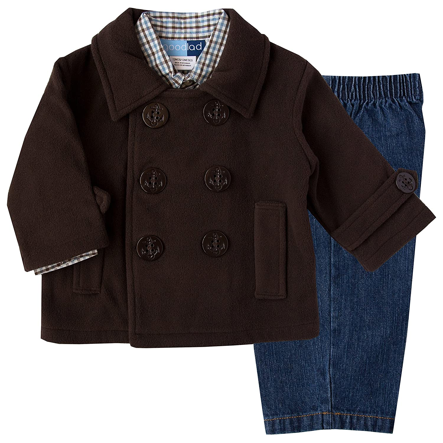 Good Lad 2/7 Boys Three Piece Fleece Peacoat Sets with Woven Pant and Shirt