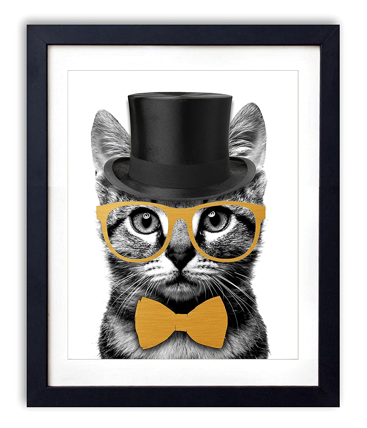 Gold Foil - Mr. Catsanova Upcycled Wall Art Vintage Dictionary Art Print 8x10 inches / 20.32 x 25.4 cm Unframed