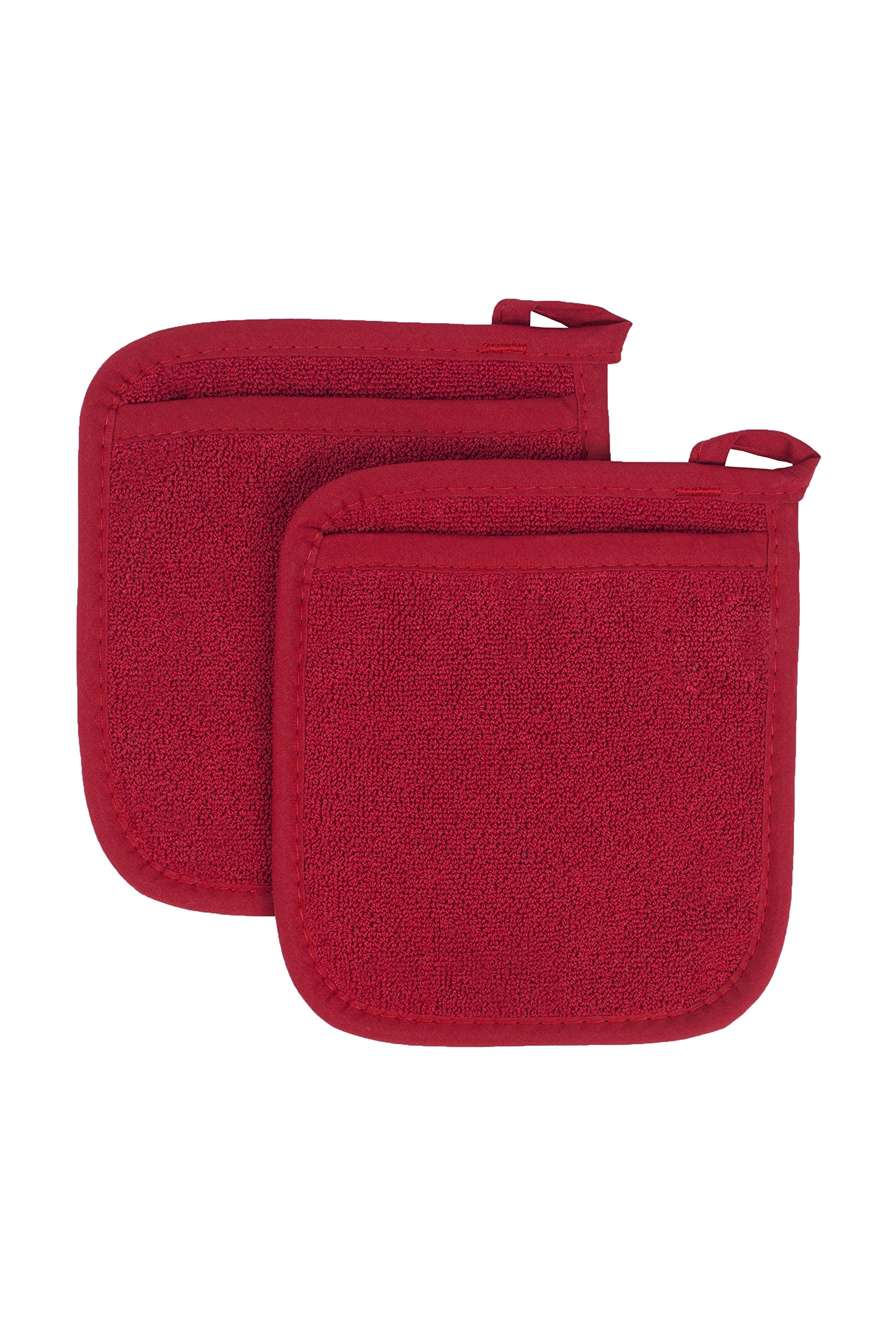 Ritz Royale Collection 100% Cotton Terry Cloth Pocket Mitt Set, Dual-Function Hot Pad / Pot Holder, 2-Piece, Paprika Red