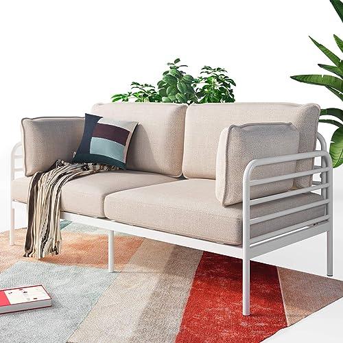 ZINUS Ellen White Metal Sofa / Steel Framework