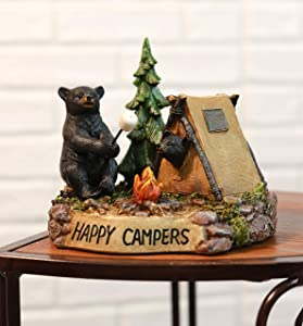Ebros Happy Campers Rustic Western Black Papa Bear Roasting Marshmallow with Cub Peeking from Campfire Tent Statue Wildlife Forest Cabin Decor Bears Family Figurine