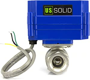 "Motorized Ball Valve- 1/4"" Stainless Steel Electrical Ball Valve with Full Port, 9-24V DC and 5 Wire Setup, can be used with Indicator Lights, [Indicate Open or Closed Position] by U.S. Solid"