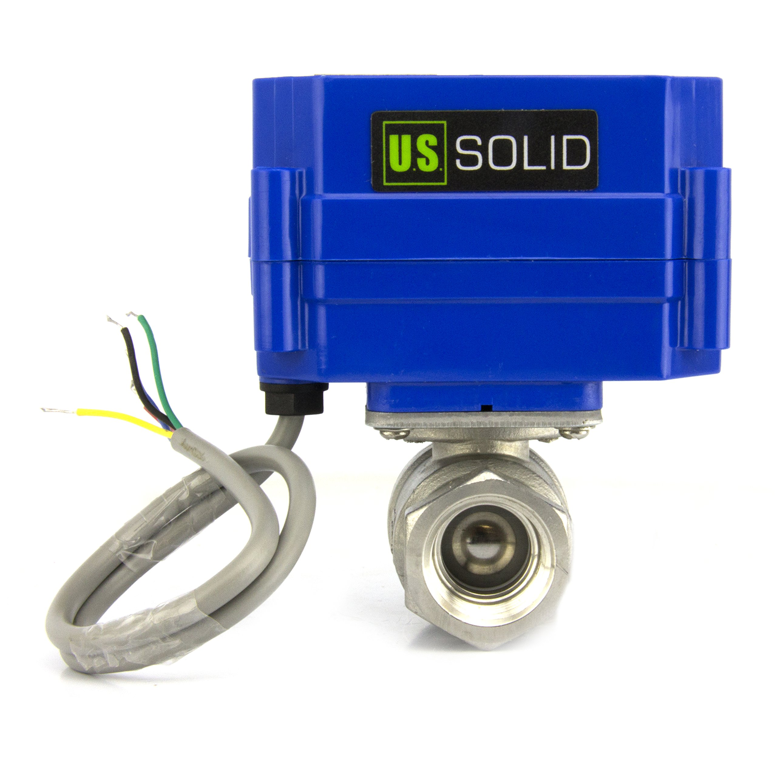Motorized Ball Valve- 1/4'' Stainless Steel Electrical Ball Valve with Standard Port, 9-24V DC and 5 Wire Setup, can be used with Indicator Lights, [Indicate Open or Closed Position] by U.S. Solid