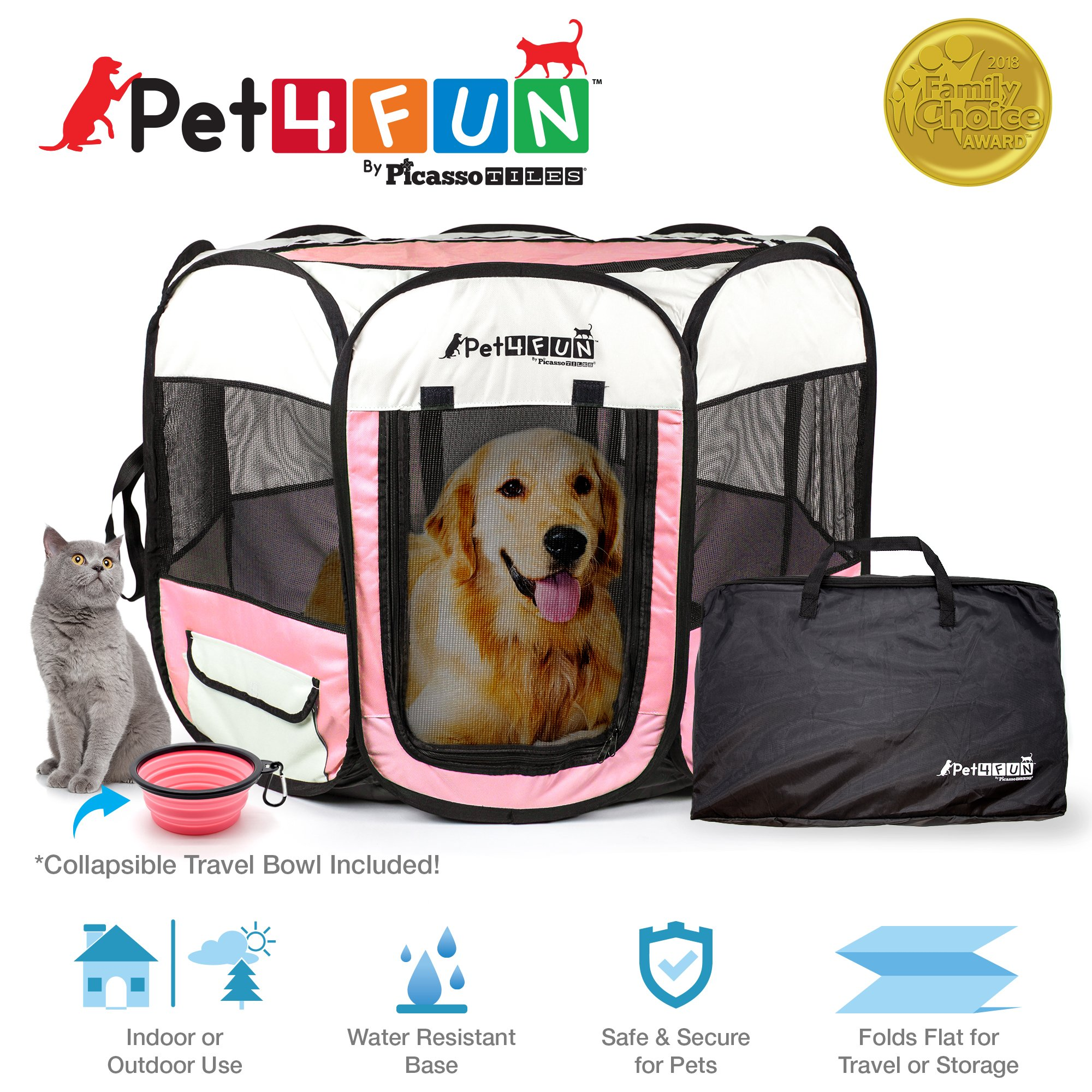 PicassoTiles PET4FUN PN935/PN945 Portable Pet Puppy Dog Cat Playpen Crates Kennel w/Water Resistant 600D Oxford, 210D Nylon, Carrying Bag, Collapsible Bowl, Removable Mesh Cover 2 Sizes by PicassoTiles