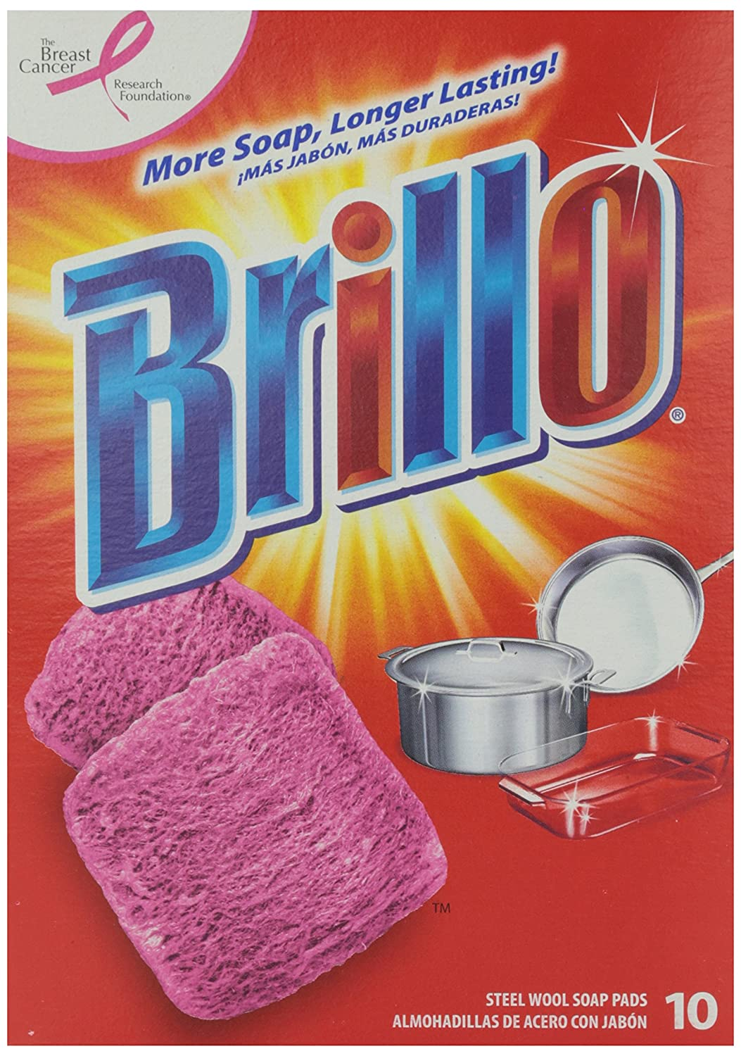 Brillo Steel Wool Soap Pads 10 ct Armaly Brands 070881233101