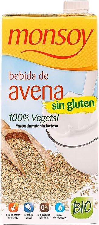 Monsoy - Bebida Ecológica de Avena sin Gluten - Caja de 4 x 1L: Amazon.es: Alimentación y bebidas
