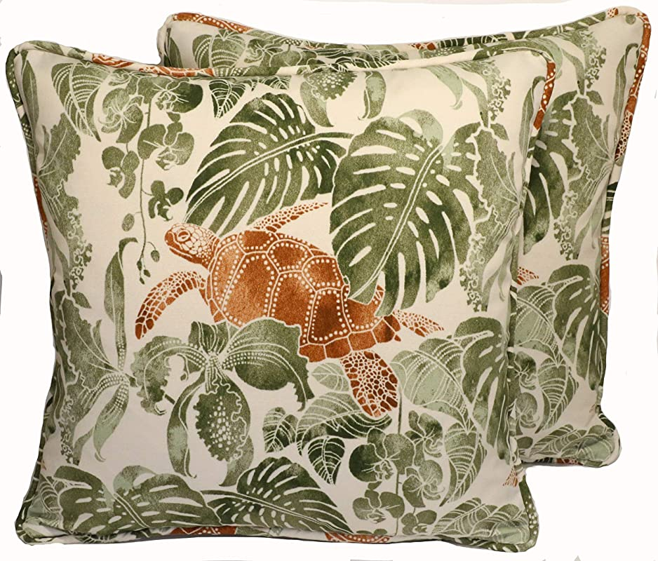 A Set Of 2 18 Tommy Bahama Tropical Turtle Tan Green Outdoor Fabric Decorative Throw Pillow Covers Handmade Amazon Com
