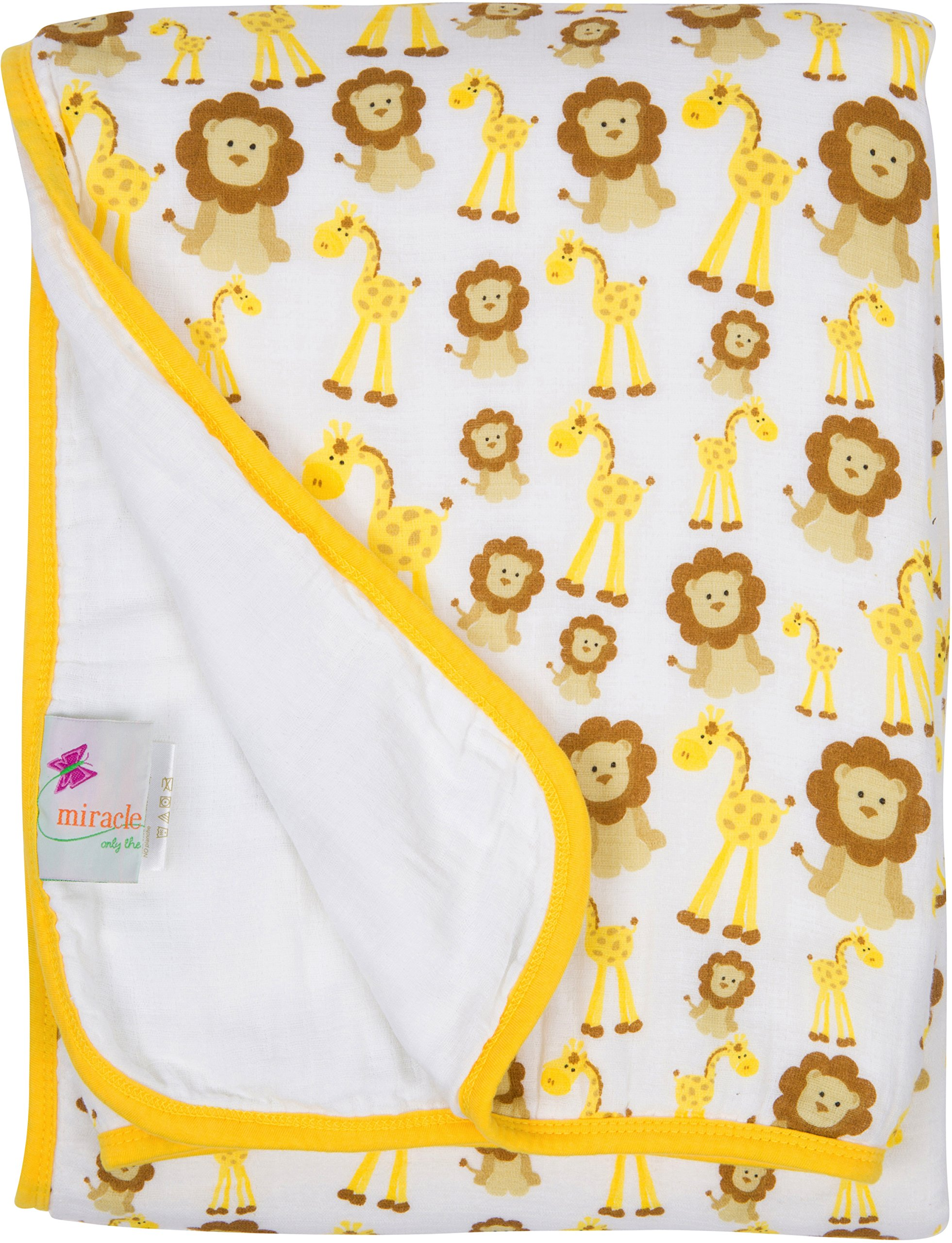 MiracleWare Extra Large Kids Muslin Playtime Toddler Blanket - Giraffes & Lions