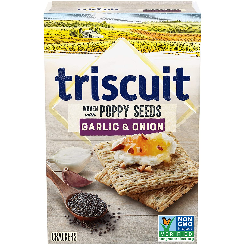Amazon Com Triscuit Crackers Garlic Onion With Poppy Seeds Flavor 1 Box 8 Oz