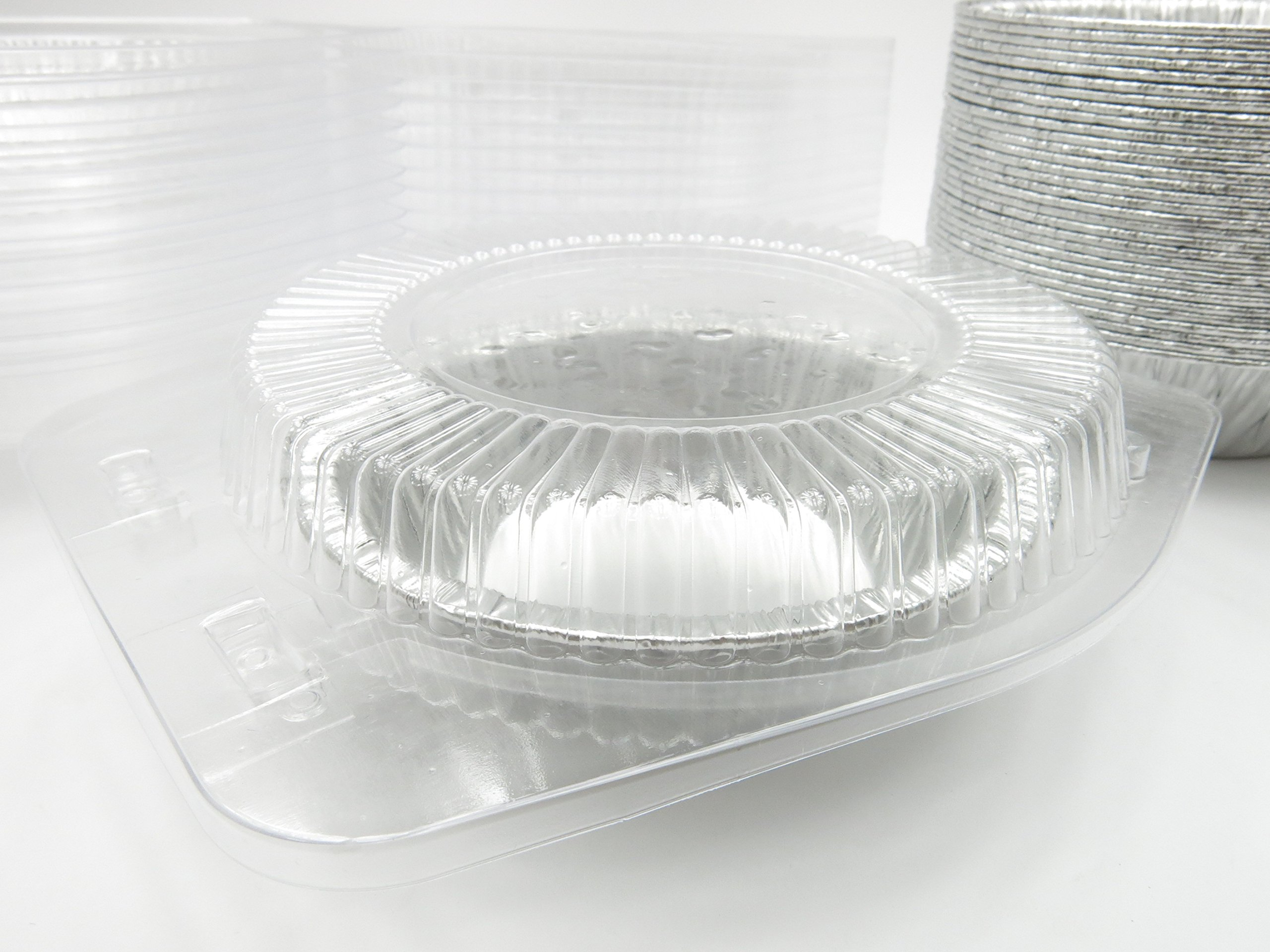 5'' Disposable Pot Pie/Pie Pans/Individual Dessert Pans With Clear Clamshell containers- Quantity Pack Options (100) by Safca (Image #2)