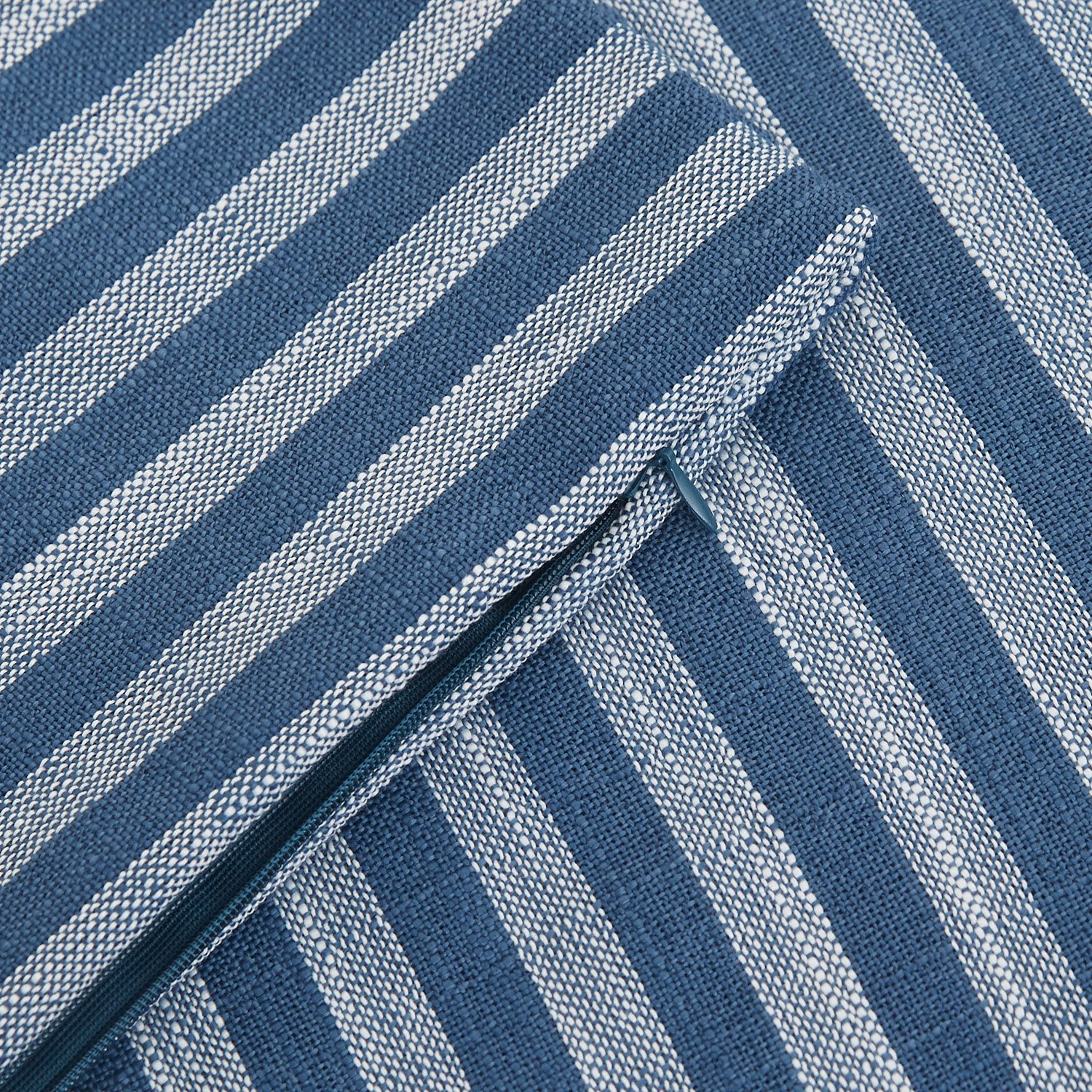 Deconovo Decorative Pillow Case Striped Pillowcase Cushion Cover with Invisible Zipper Cushion Cover for Patio Furniture 18 x 18 Inch White and Blue No Pillow Insert