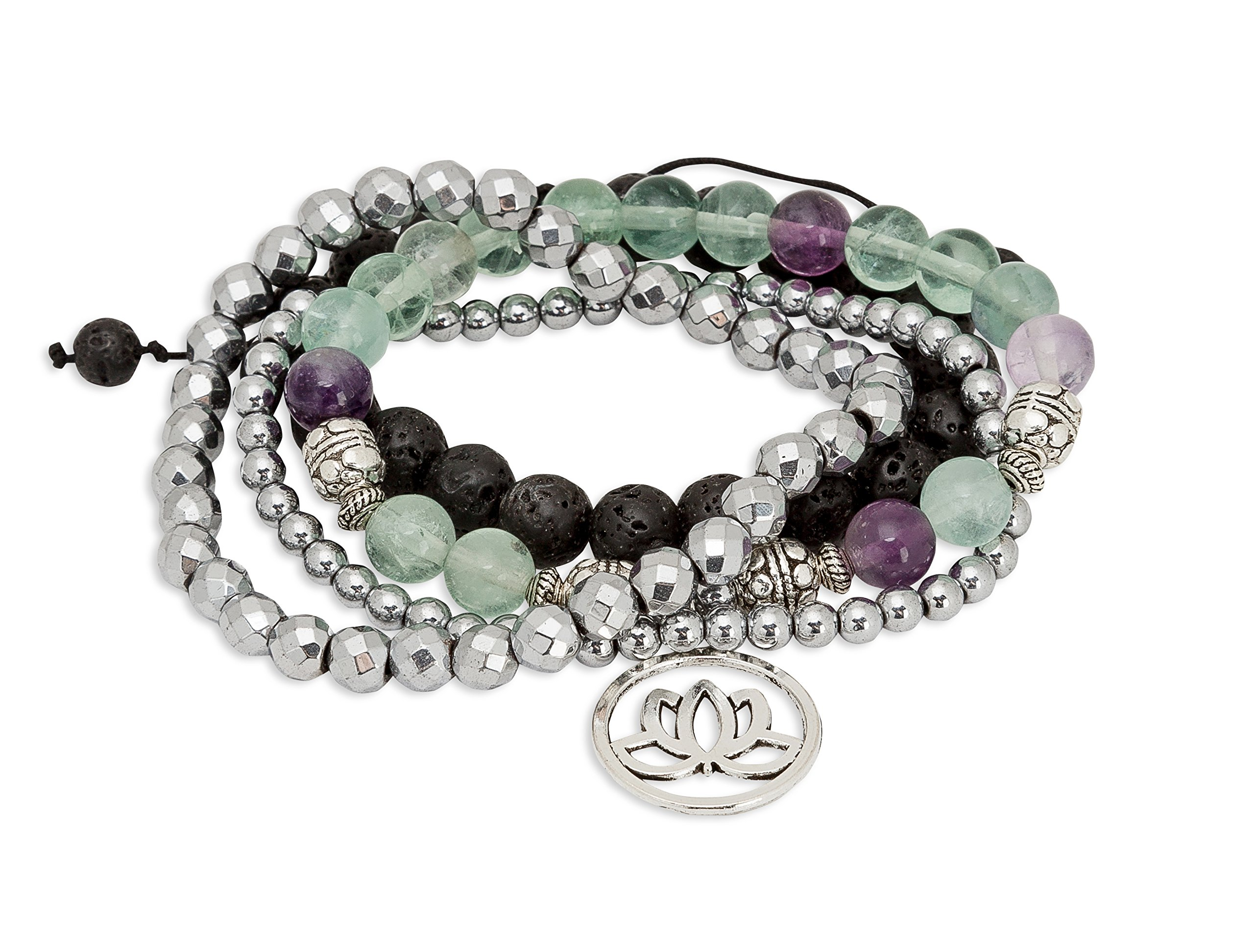SPUNKYsoul Purple & Green Fluorite Lotus New Beginnings Bracelet Hematite for healing Stack Bracelet Set Collection by SPUNKYsoul (Image #1)