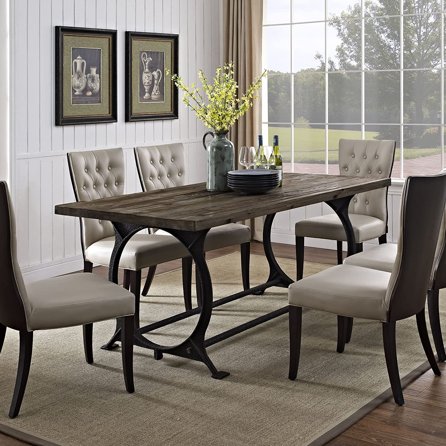 Amazon.com - Modway Effuse Wood Top Dining Table in Brown - Tables