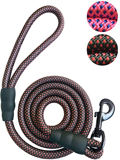 iYoShop Dog Leash Pet Rope Leash - Thick Durable Nylon Rope - Soft Handle  and Light Weight Training Leash, 5 or 6 Feet - for Small Medium Large Dogs  -