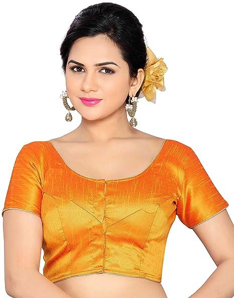 Studio Shringaar Women's Poly Raw Silk Stitched Saree Blouse Blouses at amazon