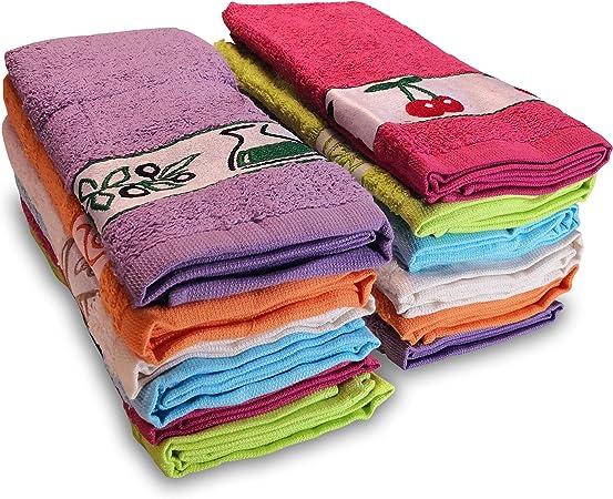 briebe Home 12 Paños de Cocina Rizo 100% algodón, 50X45cms, Hecho en Portugal, Multicolor con Dibujo Bordado, Juego de Trapos Suaves: Amazon.es: Hogar