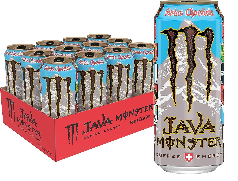 Java Monster Swiss Chocolate, Coffee + Energy Drink, 15 Fl Oz (Pack of 12)