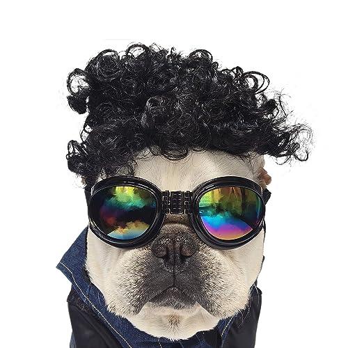 NICREW Peluca para Mascotas, Pelo de Bulldog Mascota Disfraz Cosplay de Halloween, Disfraces de