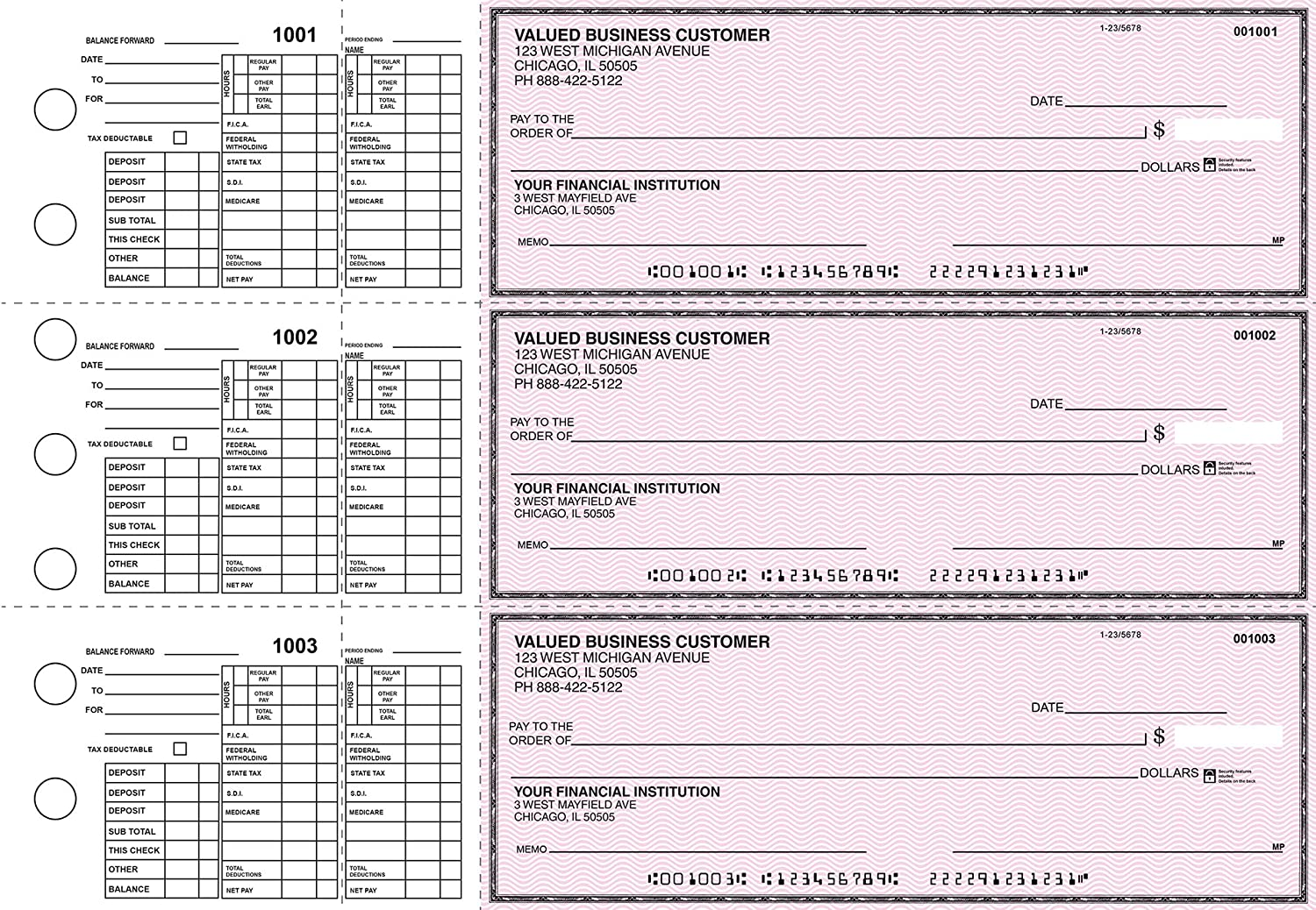 Payroll Business 3 to a page Checks Pink Safety 300 Singles