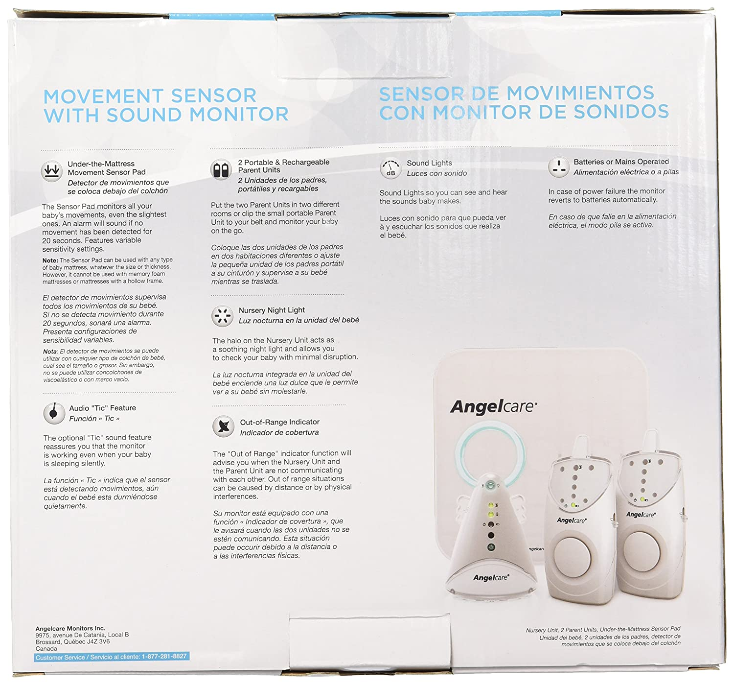 Amazon.com : Angelcare AC605 Movement and Sound Monitor (2PU/1SP) : Baby