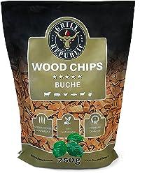 Premium Räucherchips Buche für optimales Raucharoma beim Grillen | 100% Natürliches Smoker-Holz geeignet für Kugel-, Stand- und Gas-Grill | Extra große 750 g Packung