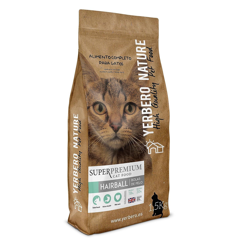 Yerbero NATURE HAIRBALL (bolas de pelo) pienso superpremium para gatos 1,5kg: Amazon.es: Alimentación y bebidas