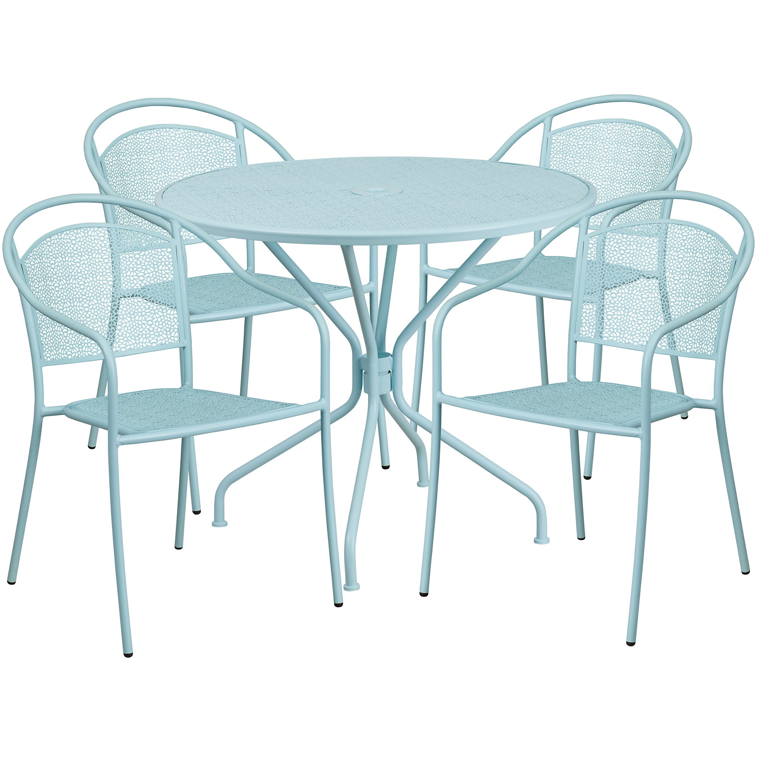 Flash Furniture 35.25'' Round Sky Blue Indoor-Outdoor Steel Patio Table Set with 4 Round Back Chairs