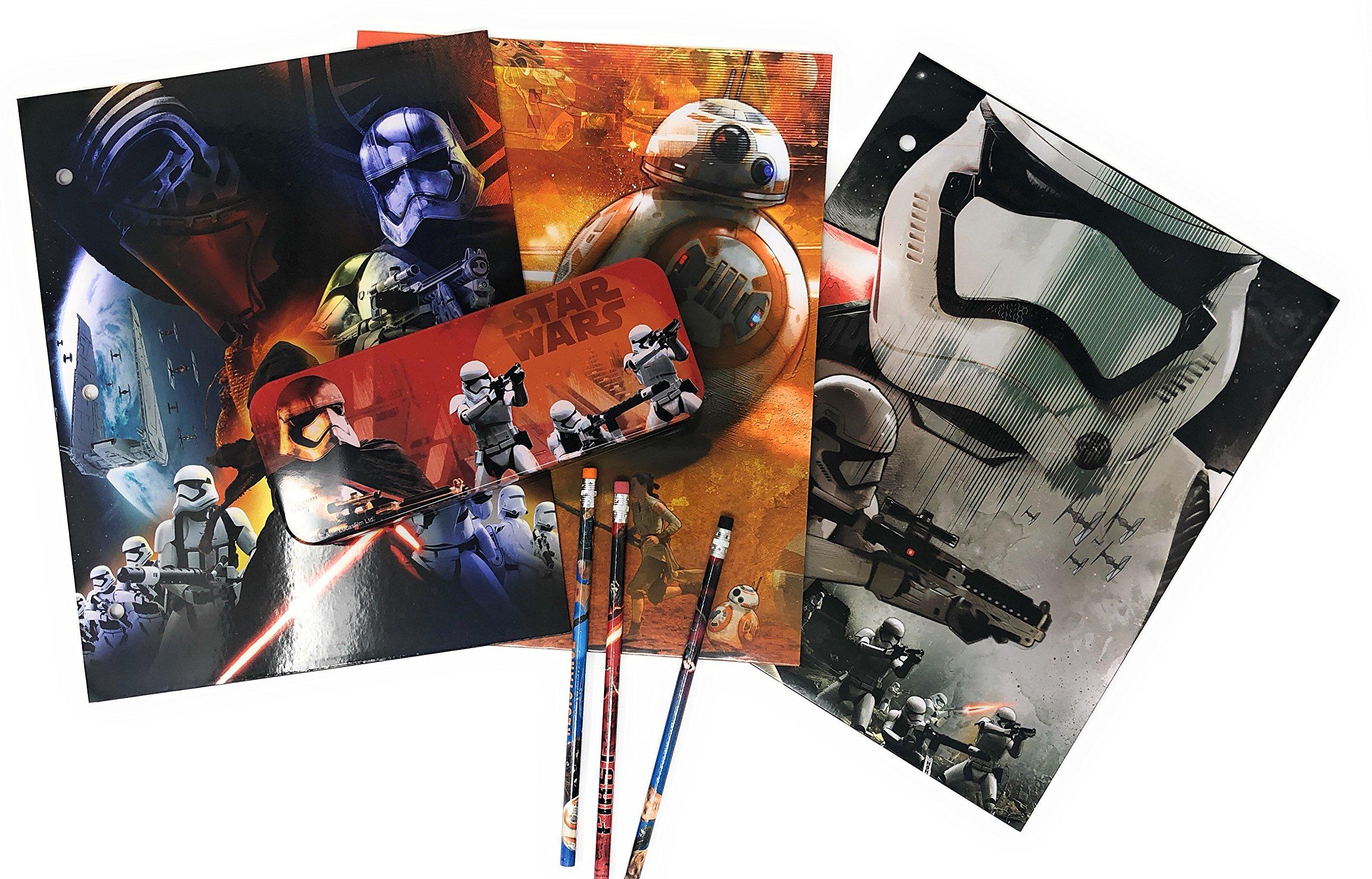 Star Wars 7 Portfolio The Force Awakens - Set of 3 Portfolio 2 Pocket School Folders, Metal Tin Pencil Box with Pencils (Storm Tr)