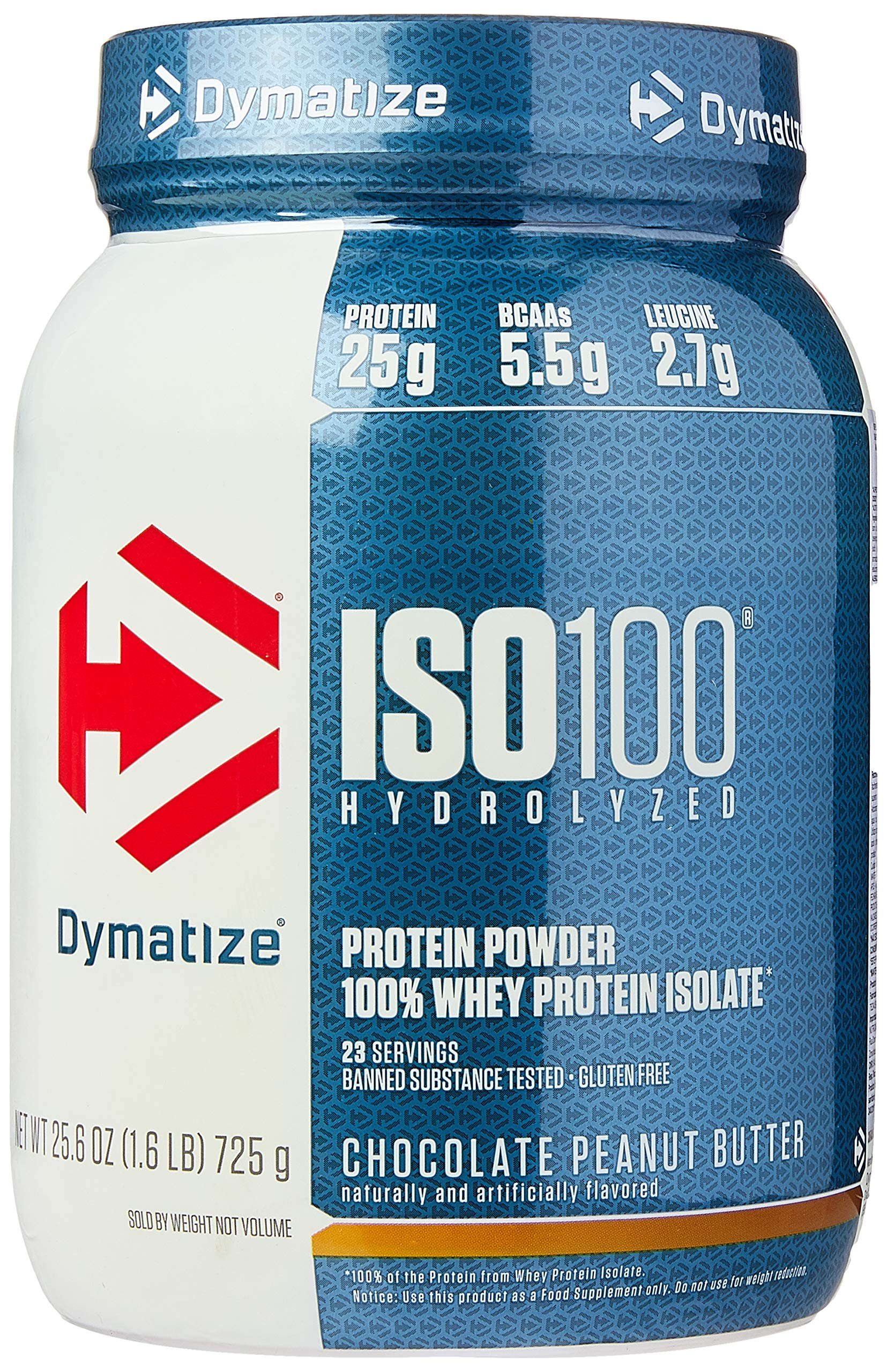 Dymatize ISO 100 Whey Protein Powder with 25g of Hydrolyzed 100% Whey Isolate, Gluten Free, Fast Digesting, Chocolate Peanut Butter, 1.6 Pound by Dymatize