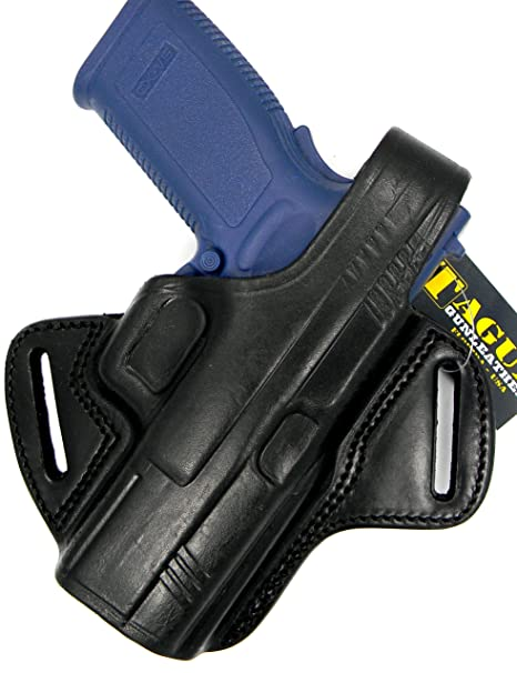 TAGUA THUMB BREAK BLACK LEATHER RIGHT HAND BELT HOLSTER FOR SPRINGFIELD  ARMORY XD 9 40, 4