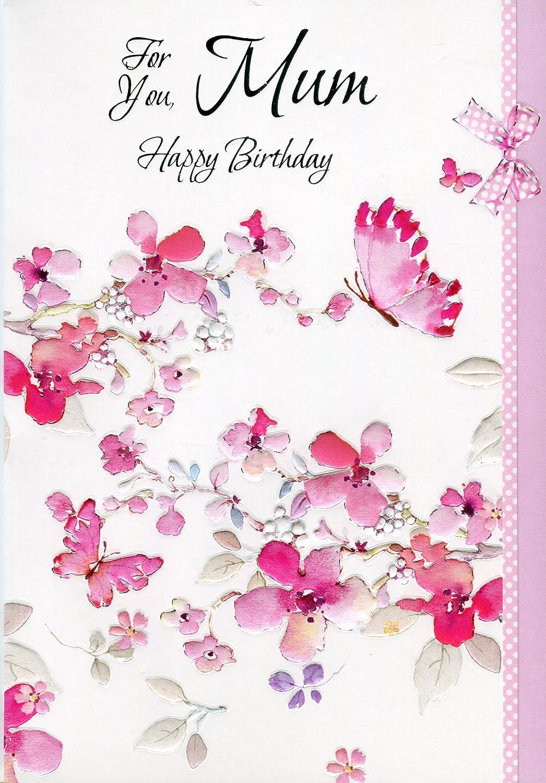 Para Ti Mamá feliz cumpleaños - mariposas y flores Tarjeta ...
