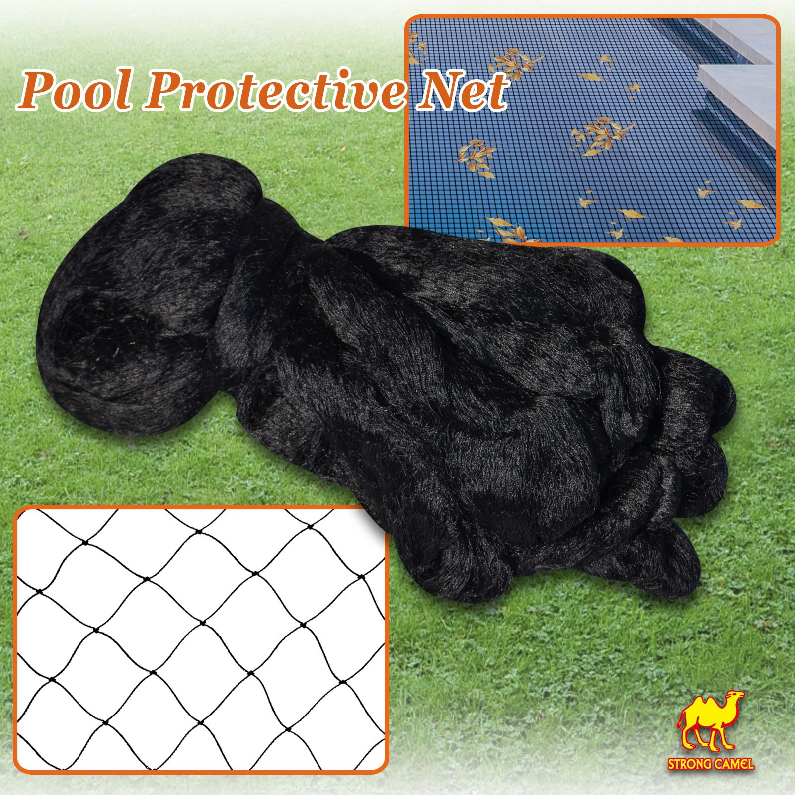 Strong Camel 14x14' 28x28' 28x45' Pool Netting Net Tub Mesh Cover Pond Protective Floating (14'x14')