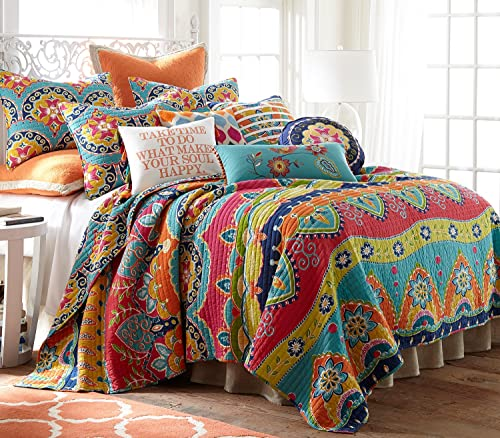 Levtex Amelie King Cotton Quilt Set, Multi, Global
