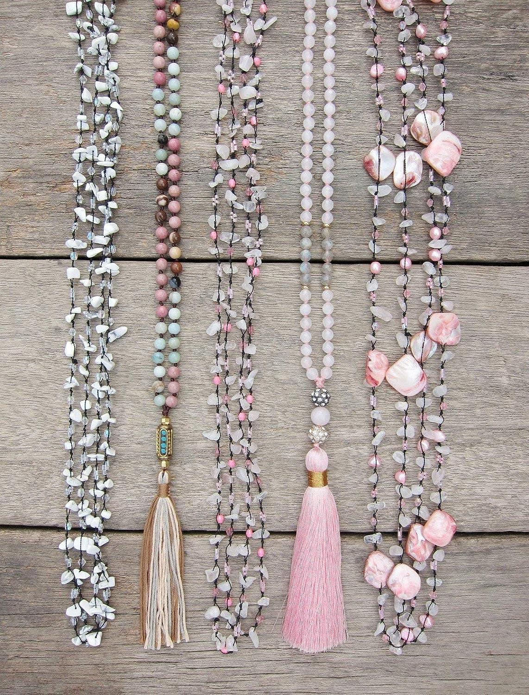 Hand Knotted Jewelry Boho Jewelry Amazonite Necklace Amazonite Hand Knotted Necklace with Pink Tassel Pink Boho Necklace