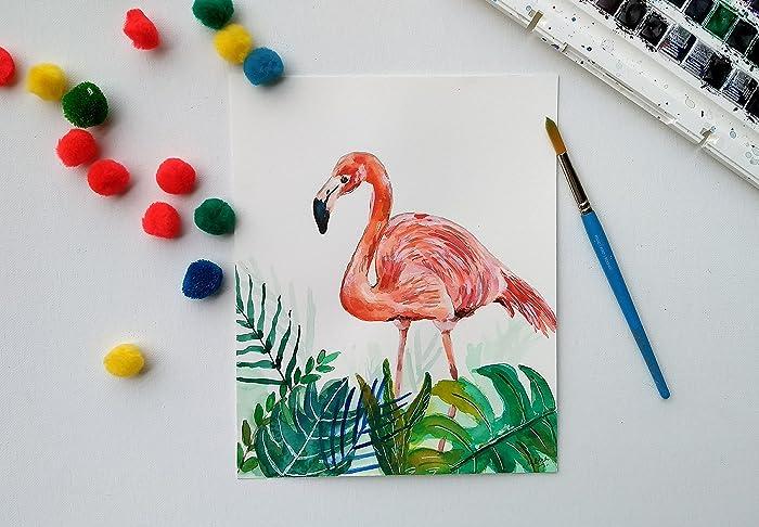 amazon com flamingo original watercolor 8 x 10 bird painting