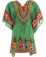 Hastkala Women's Kaftan / Caftan / Caftans Turkish Kaftan Short Dress Boho Caftan Beachwear Swimwear Dress Print