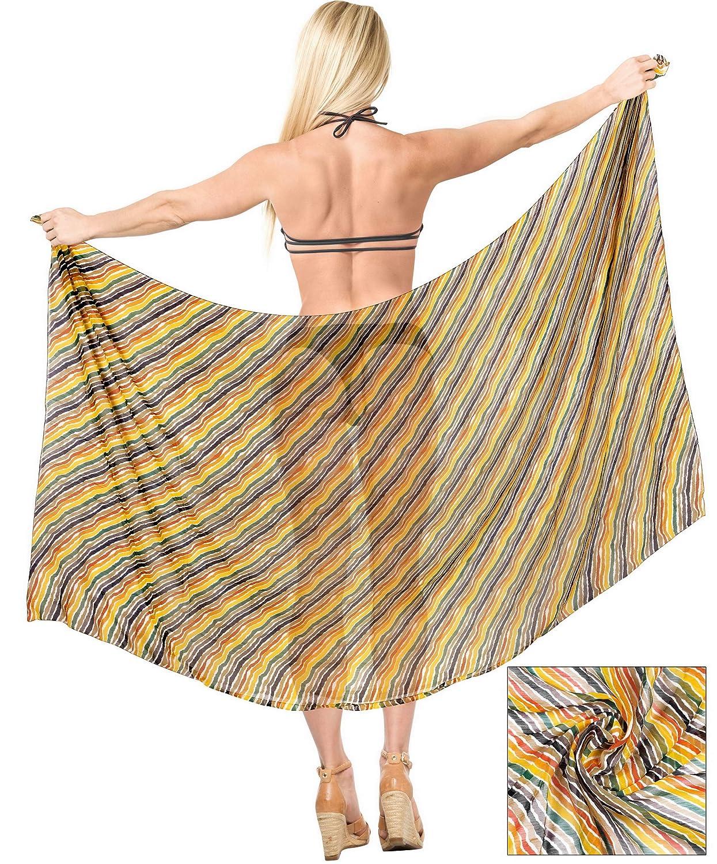 LA LEELA Womens Beach Cover Up Bikini Sarong Swimsuit Wrap Skirts Full Long B