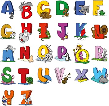 Educational Wall Sticker Animal Alphabet Art Letters   Adorable Set Of 26  ABC Letter Decals To