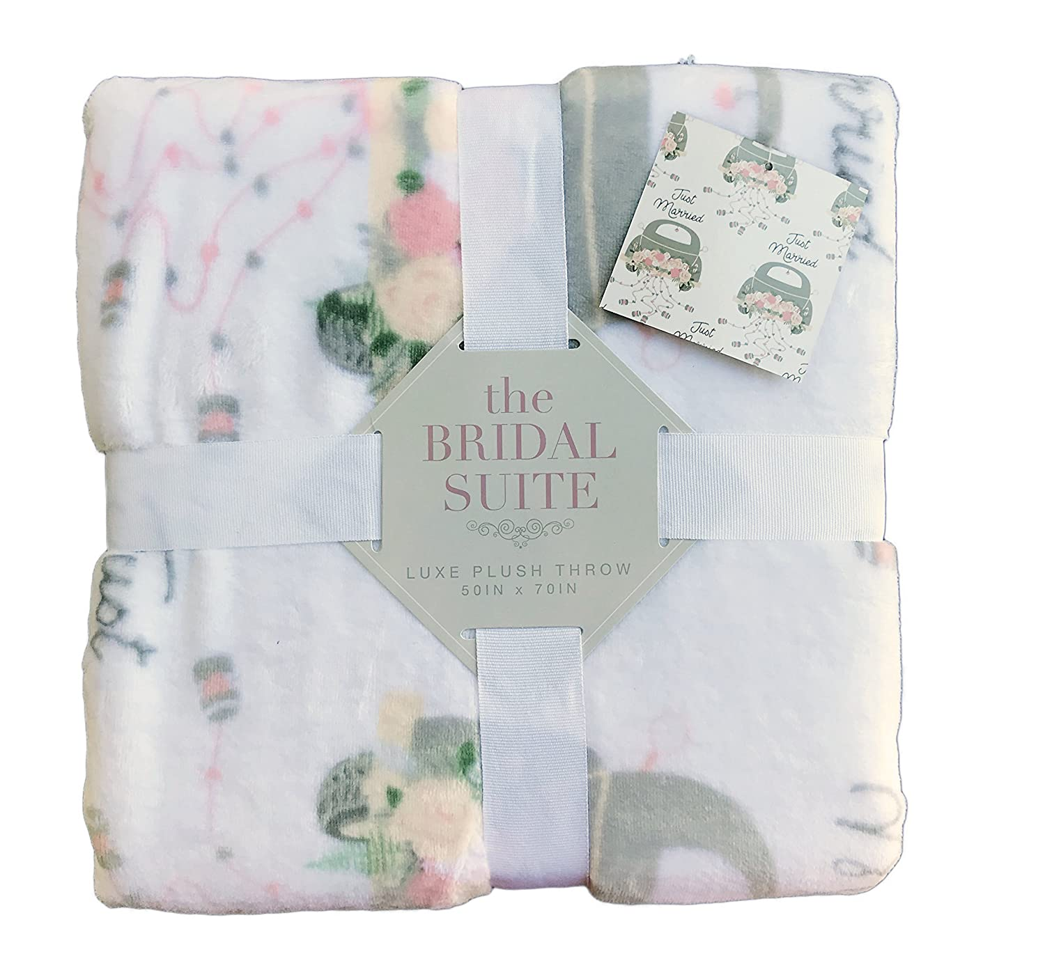 The Bridal Suite Just Married Cozy Luxe Plush Throw Blanket 50 x 70