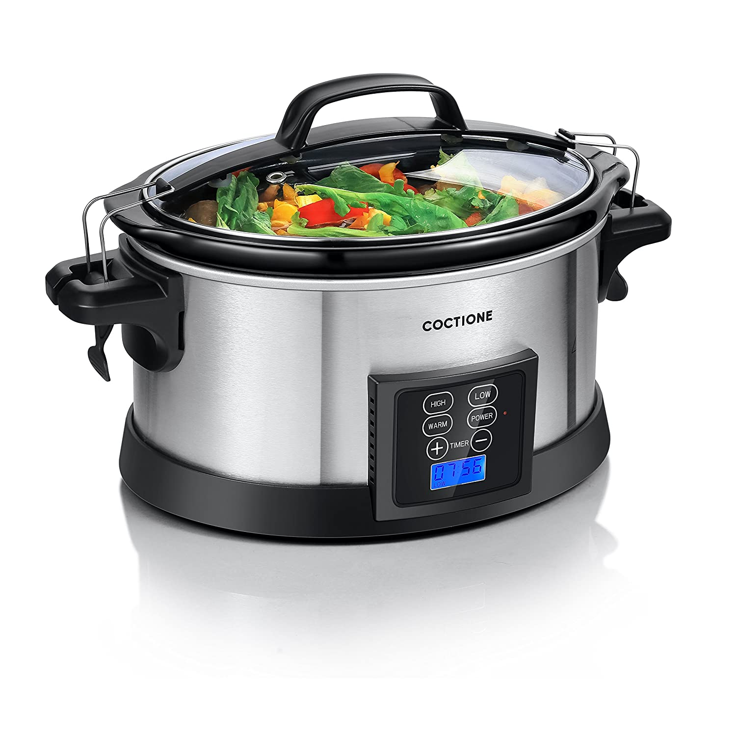 COCTIONE Slow Cooker 6 Quart Oval Shaped Carry Cooker, Electric Programmable LCD Digital Timer Auto Shut Off Cook with Removable Ceramic Cooking Pot Latch Lock Lid and Stainless Steel Finish