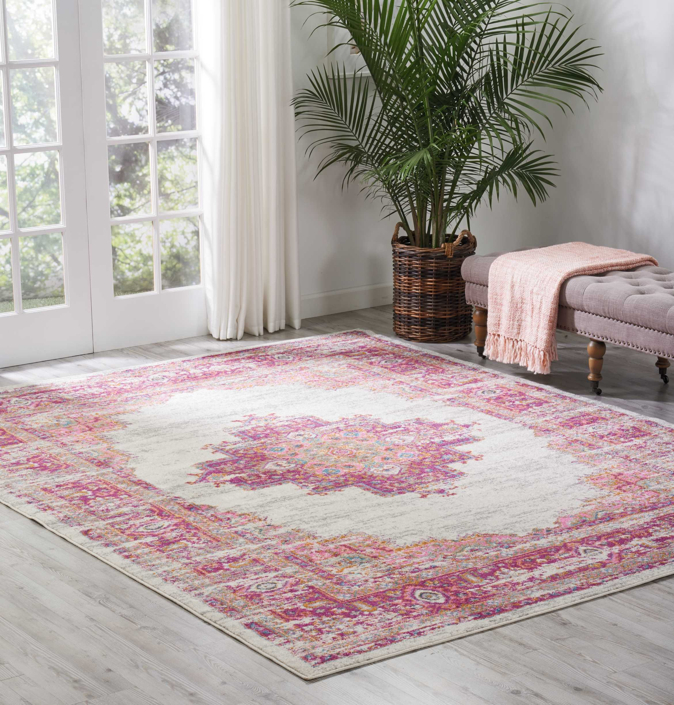 Nourison (PSN03) Passion Modern Traditional Colorful Ivory/Fushia Pink Area Rug, 8' x  10' by Nourison