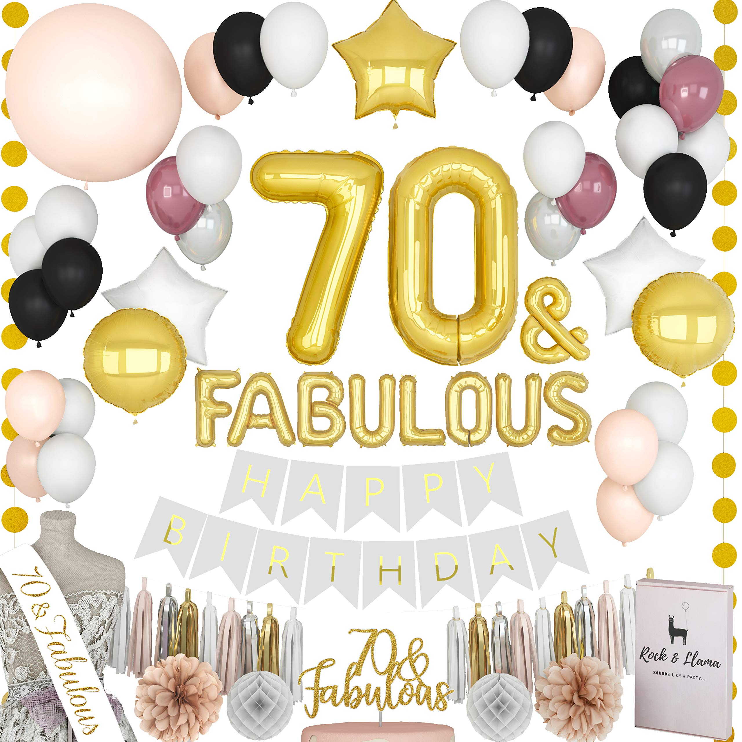 TRULY FABULOUS 70th Birthday Party Supplies + (70 SASH) + (FABULOUS Letter Balloons) + (Cake Topper) | Gold Black Burgundy Seventy Bday Decorations For Women | (71+ Items)
