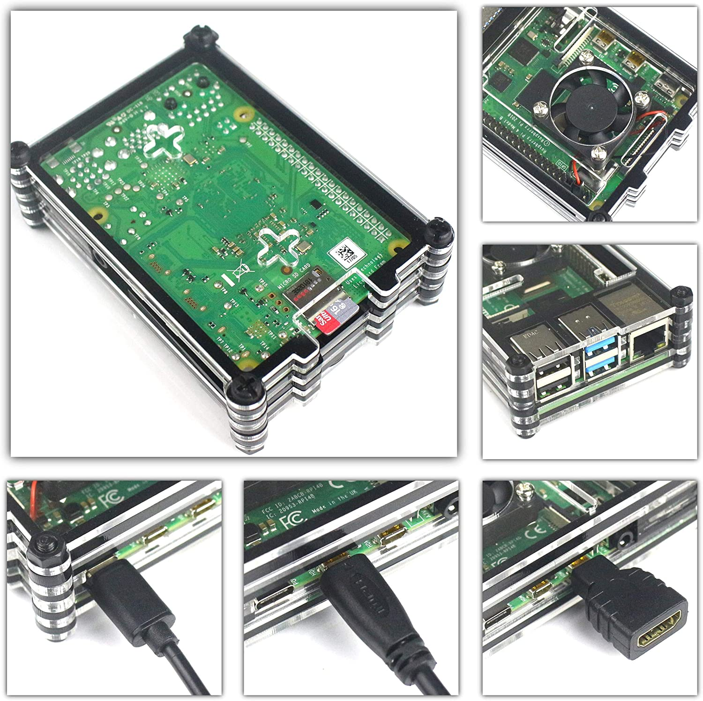 Lector De Tarjetas 5V 3A USB Tipo C Cargador y 3 Disipadores Jun/_Electronic para Raspberry Pi 4 B Caja con Ventilador