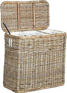 The Basket Lady 3-Compartment Wicker Laundry Sorter Hamper, 30 in L x 15 in W x 28 in H, Serene Grey