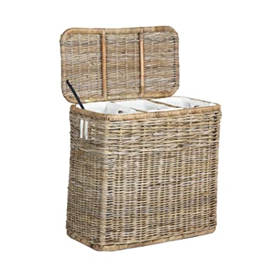The Basket Lady 3-Compartment Wicker Laundry Hamper | Clothes Hamper, Serene Grey